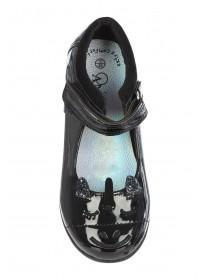 Younger Girls Black Back To School Unicorn Mary Jane Shoes