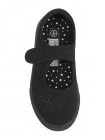 Younger Girls Black Canvas School Shoes