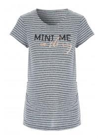 Maternity Grey and White Stripe Slogan T-Shirt