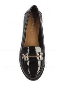 Womens Black Patent Loafer Shoes