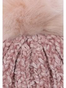 Womens Pale Pink Chenille Pom Beanie Hat