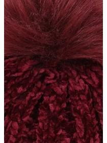 Womens Burgundy Chenille Pom Beanie Hat
