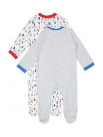 Baby Girls 2pk Grey Number Sleepsuits