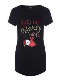 Maternity Black Slogan Christmas T-Shirt