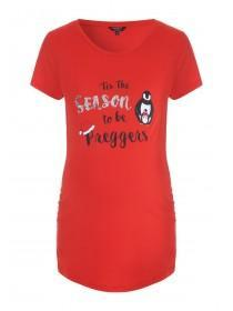 Maternity Red Slogan Christmas T-Shirt