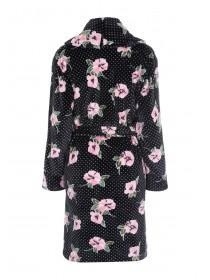 Womens Black Floral Dressing Gown
