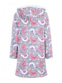 Womens Grey Llama Fleece Nightdress
