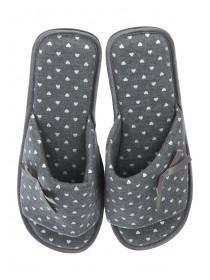Womens Grey Heart Spa Style Slipper