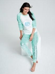 Womens Aqua Mermaid Slogan Pyjama Set