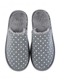 Womens Grey Heart Mule Slippers