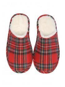 Womens Red Tartan Mule Slippers
