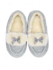 Womens Grey Fluffy Slippers