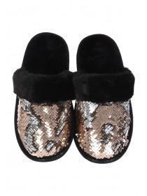 Womens Black Flip Sequin Mule Slippers