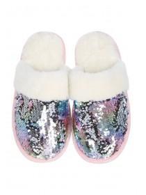 Womens Pink Flip Sequin Mule Slippers