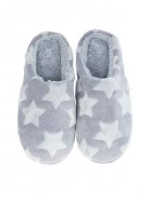 Womens Grey Star Embossed Mule Slippers
