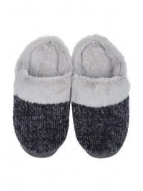 Womens Grey Chenille Mule Slippers