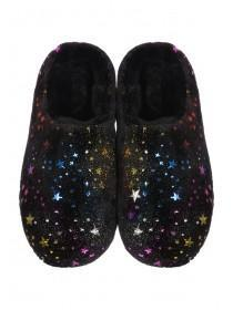 Womens Black Multicolour Star Mule Slippers