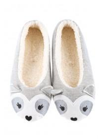 Womens Grey Racoon Ballet Slippers