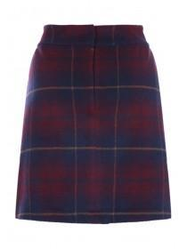 Womens Plum Check Brushed Skirt