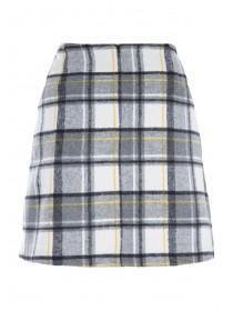Womens Monochrome Check Brushed Skirt