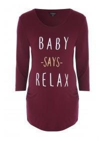 Maternity Burgundy Slogan T-Shirt