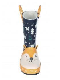Younger Boys Blue Woodland Fox Handle Wellies