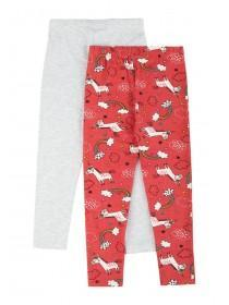 Younger Girls 2pk Coral Unicorn Leggings