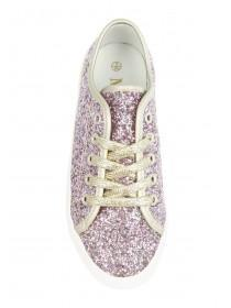 Older Girls Pink Glitter Lace Up Trainers