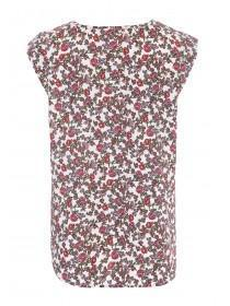 Womens Cream Floral Top