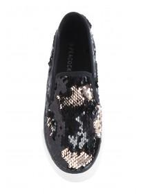 Womens Black Flip Sequin Skater Trainers