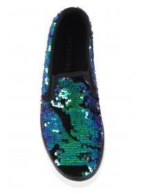 Womens Green Flip Sequin Skater Trainers