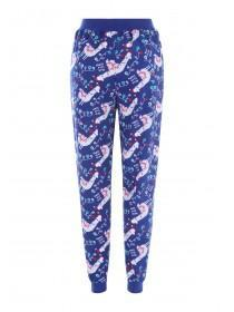 Womens Blue Llama Pyjama Bottoms