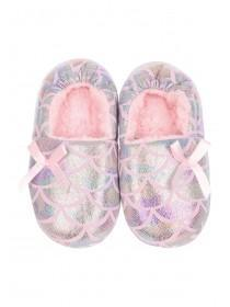 Younger Girls Pink Metallic Slippers