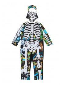 Kids Multicolour Skeleton Fancy Dress Outfit
