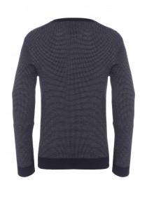 Mens Navy Two Tone Jumper