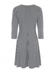 Womens Monochrome Stripe Twist Front Dress