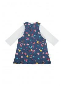 Baby Girls Blue Floral Pinafore and Top Set