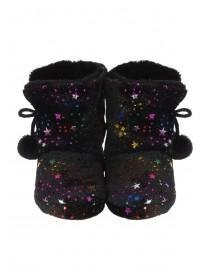 Girls Black Multicolour Star Slipper Boots
