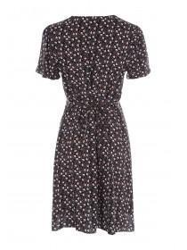 Womens Black Floral Button Front Dress