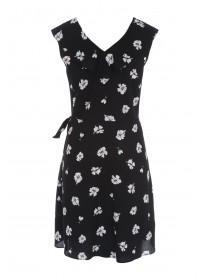 Womens Black Floral Wrap Dress