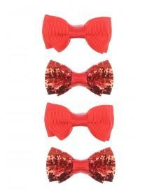 Girls 4pk Red Bow Hairclips