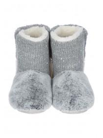 Womens Grey Patchwork Slipper Boots