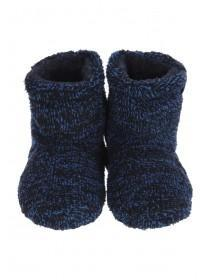Boys Navy Two Tone Fluffy Slippers