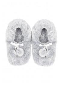 Womens Grey Pom Footlet Slippers
