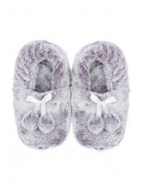 Womens Purple Pom Footlet Slippers