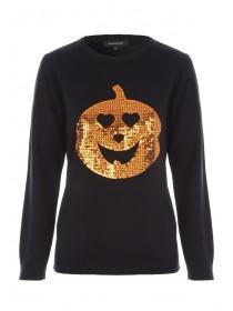 Womens Black Sequin Pumpkin Jumper