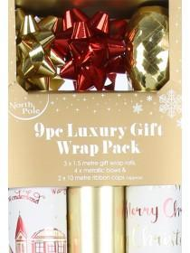 Gold 9pc Luxury Gift Wrap Pack