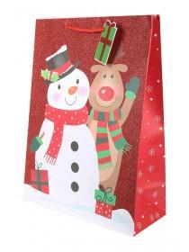 Large Red Reindeer and Snowman Gift Bag