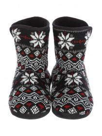 Mens Black Fairisle Slipper Boots