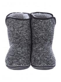 Mens Grey Knitted Slipper Boots
